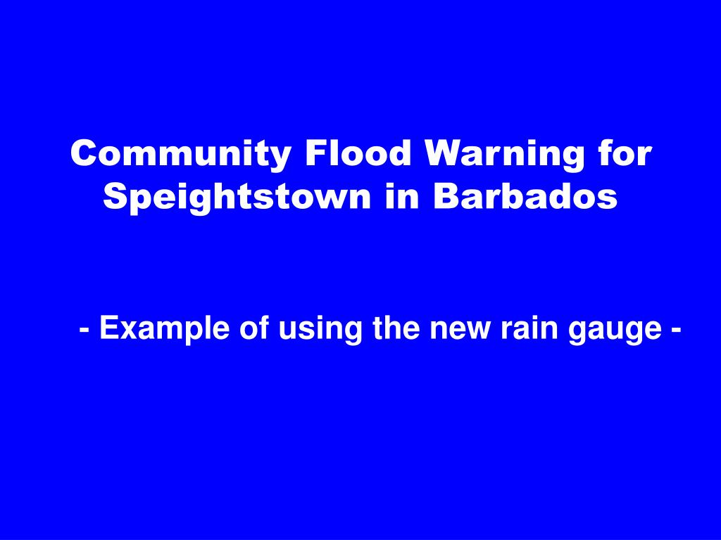 Community Flood Warning for Speightstown in Barbados
