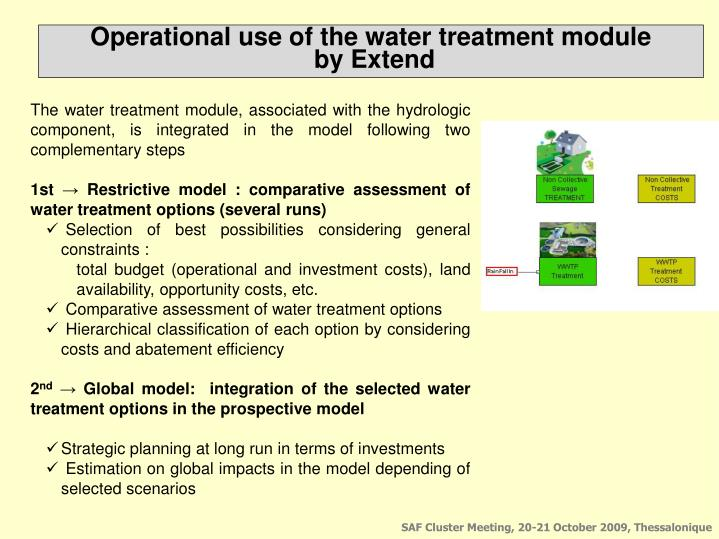 Operational use of the water treatment module