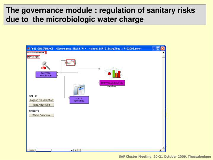 The governance module : regulation of sanitary risks due to  the microbiologic water charge
