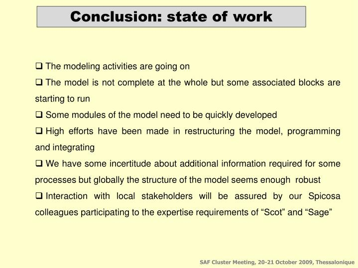 Conclusion: state of work