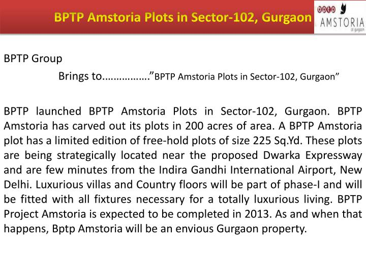 Bptp amstoria plots in sector 102 gurgaon