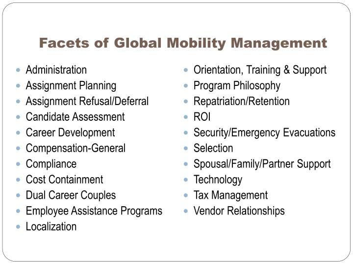 Facets of Global Mobility Management