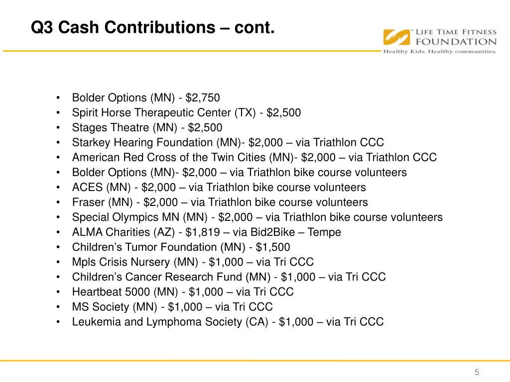 Q3 Cash Contributions – cont.
