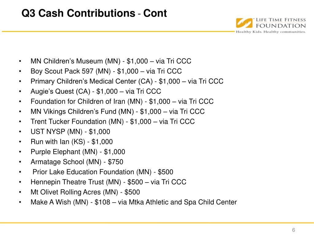 Q3 Cash Contributions