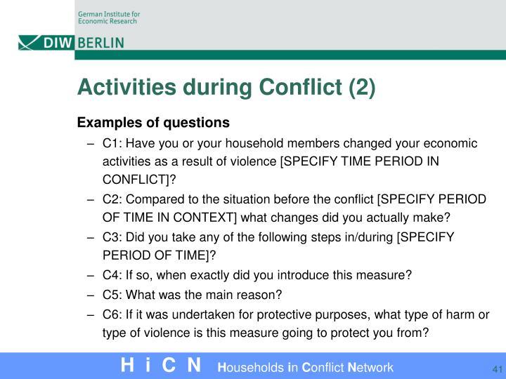 Activities during Conflict (2)