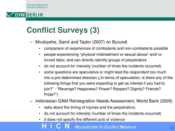 Conflict Surveys (3)