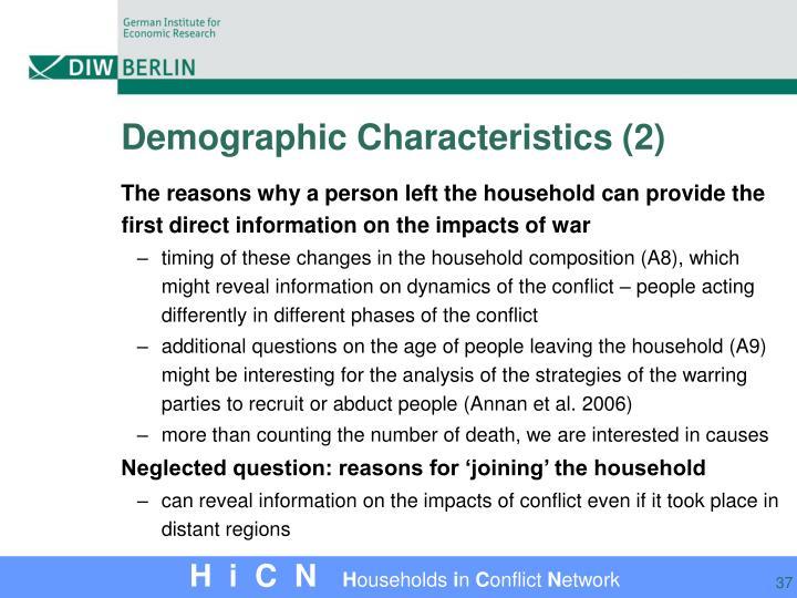 Demographic Characteristics (2)