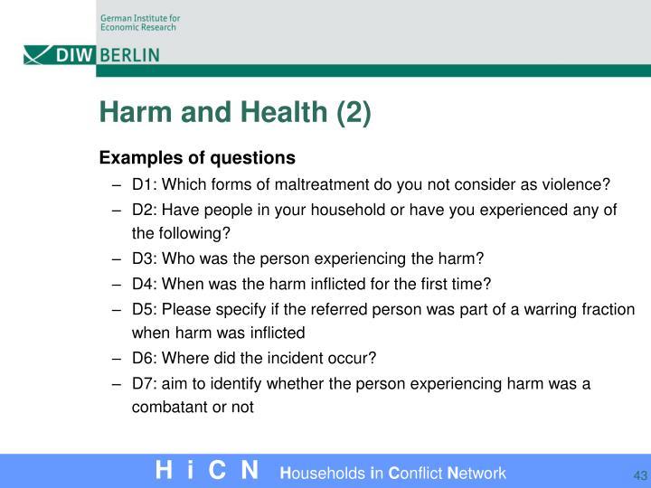Harm and Health (2)