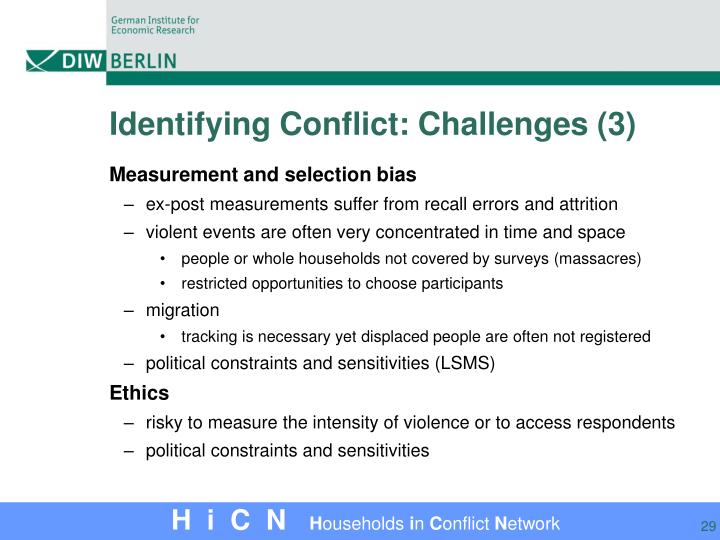 Identifying Conflict: Challenges (3)