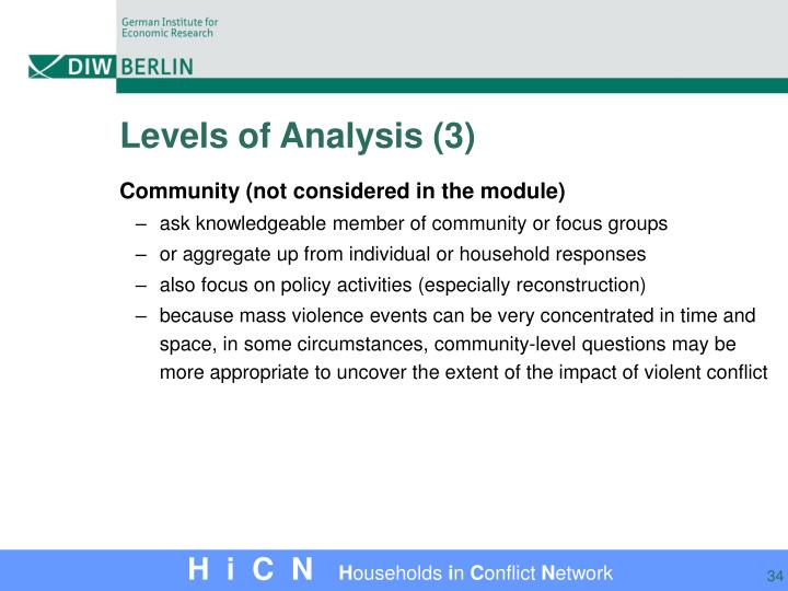 Levels of Analysis (3)