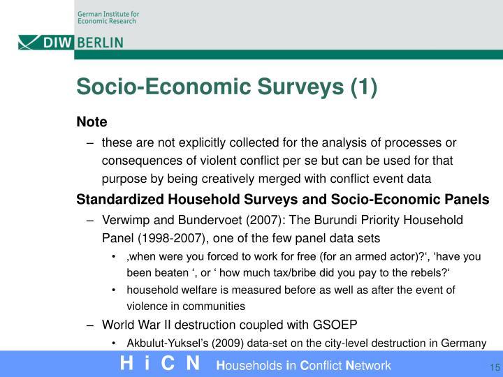 Socio-Economic Surveys (1)