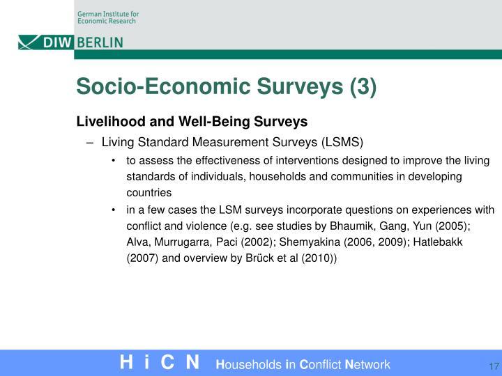 Socio-Economic Surveys (3)