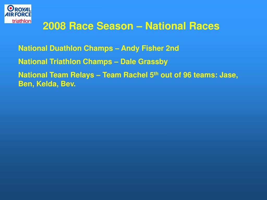2008 Race Season – National Races