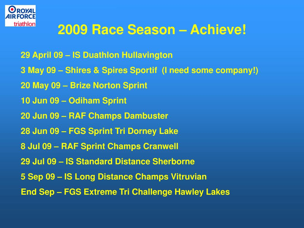 2009 Race Season – Achieve!