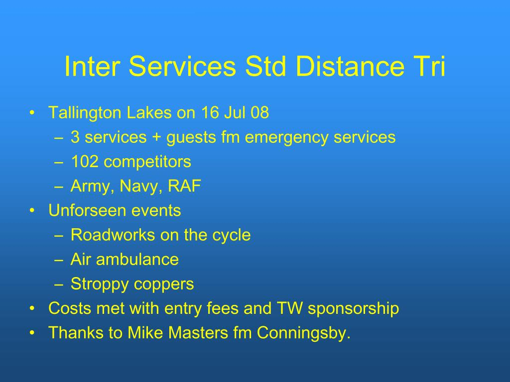 Inter Services Std Distance Tri