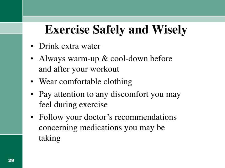 Exercise Safely and Wisely