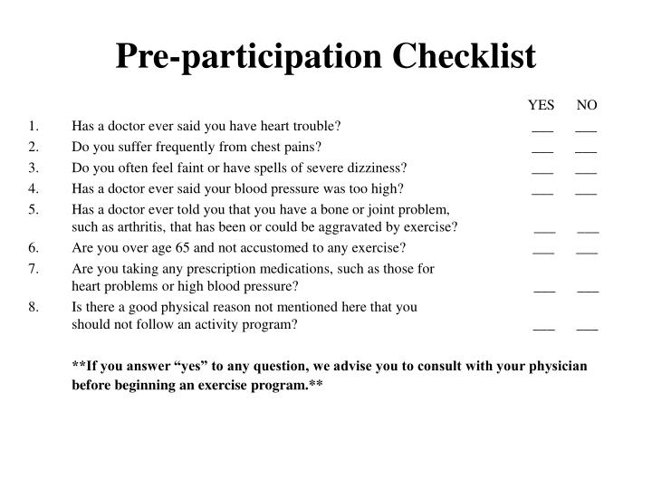 Pre-participation Checklist