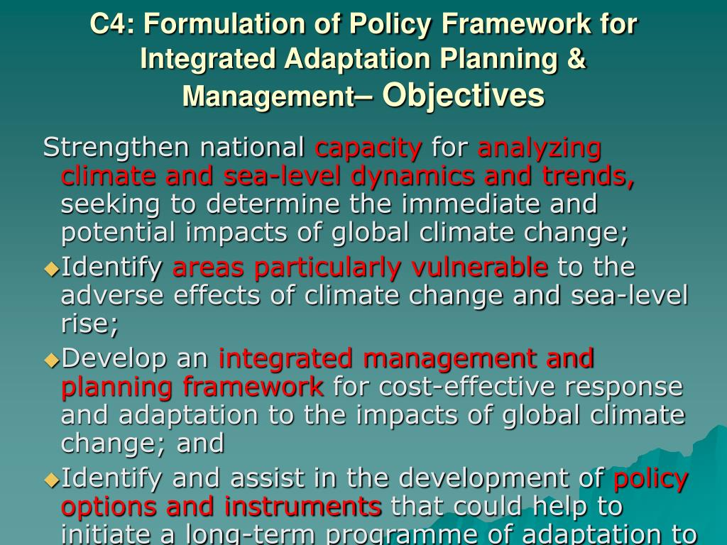 C4: Formulation of Policy