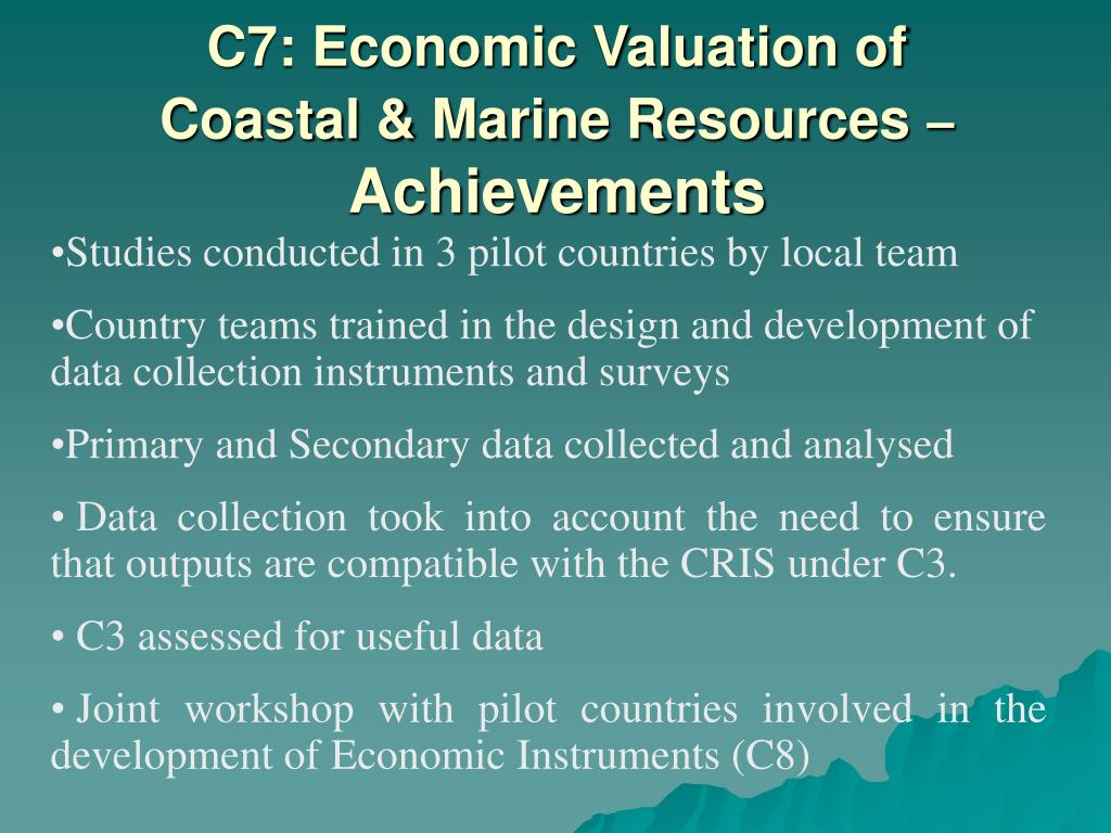 C7: Economic Valuation of Coastal & Marine Resources