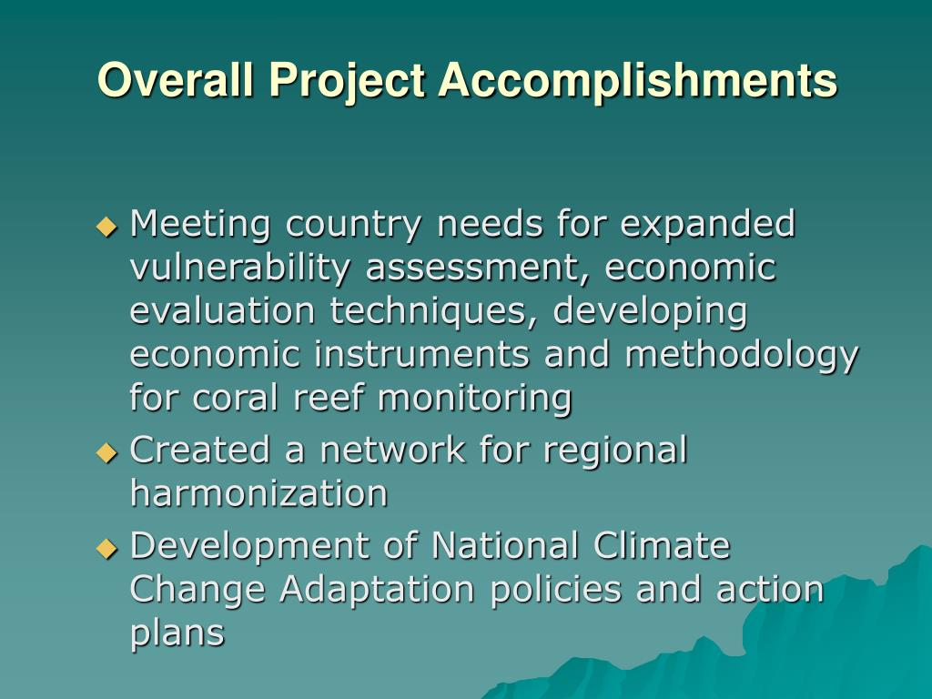 Overall Project Accomplishments