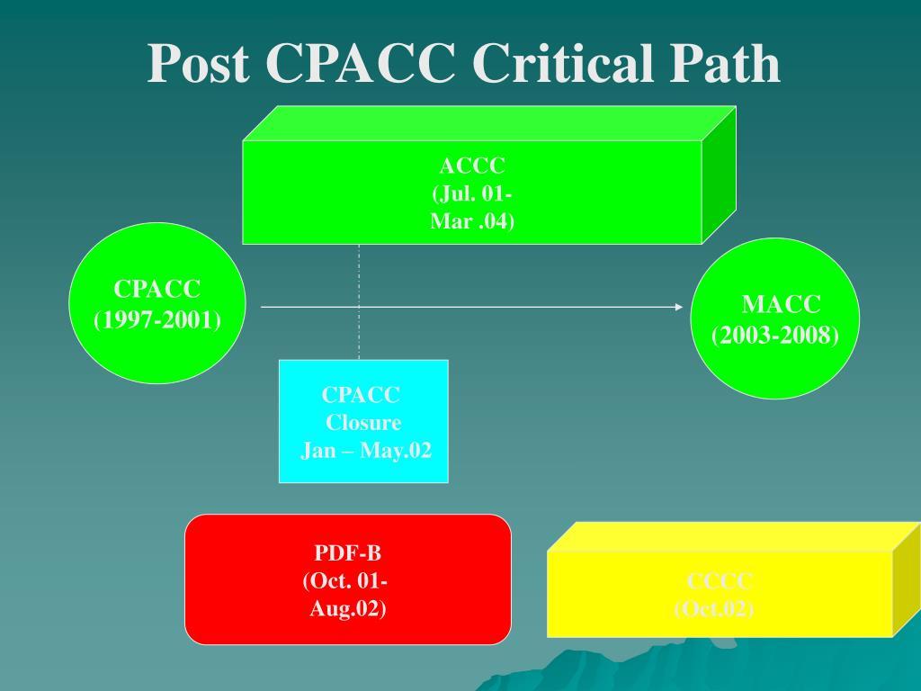Post CPACC Critical Path