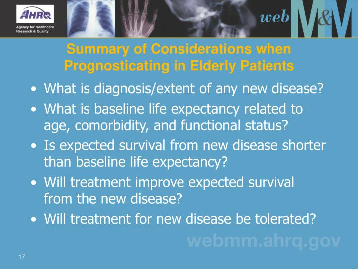 Summary of Considerations when Prognosticating in Elderly Patients