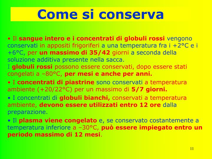 Come si conserva