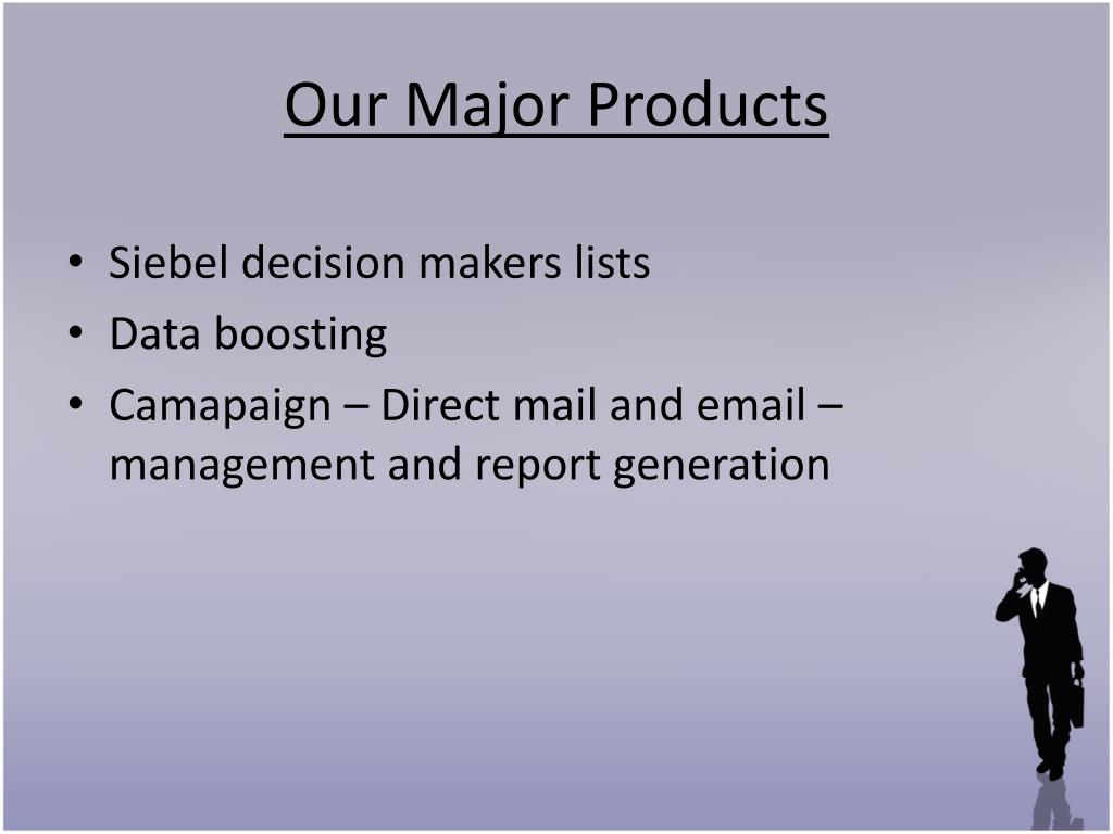 Our Major Products