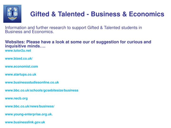 Gifted & Talented - Business & Economics
