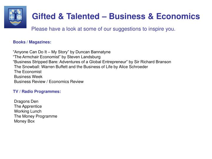 Gifted & Talented – Business & Economics