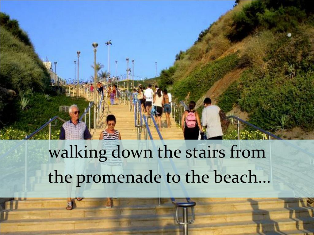walking down the stairs from