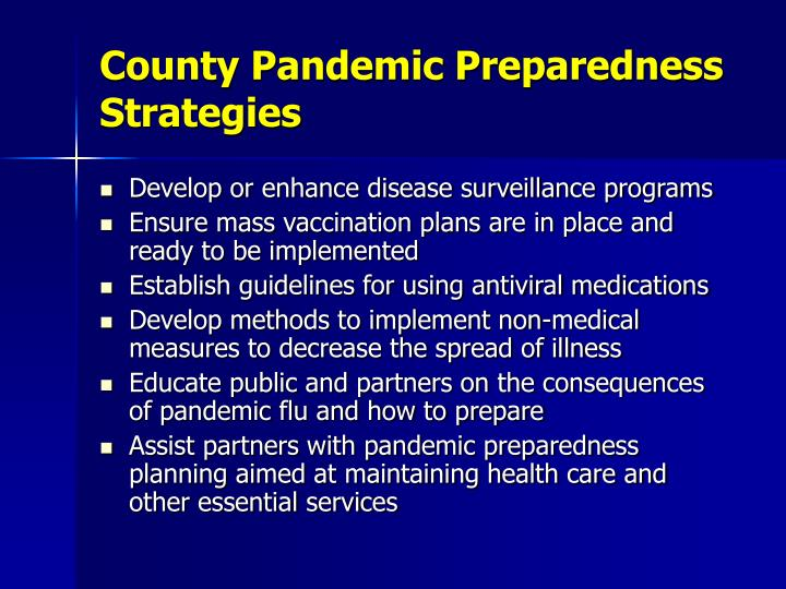 County Pandemic Preparedness Strategies