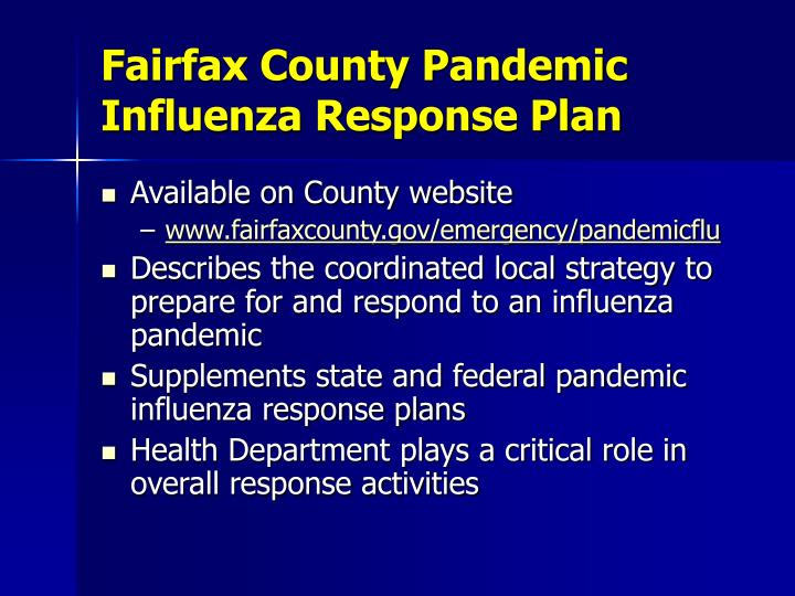 Fairfax County Pandemic Influenza Response Plan
