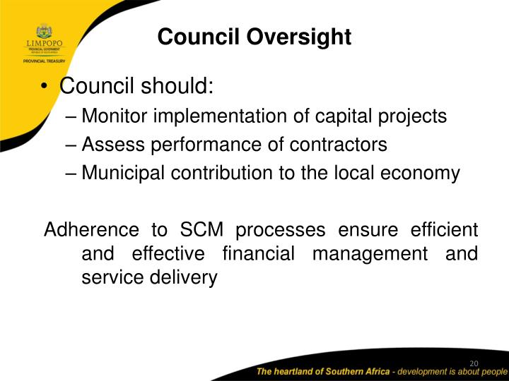 Council Oversight