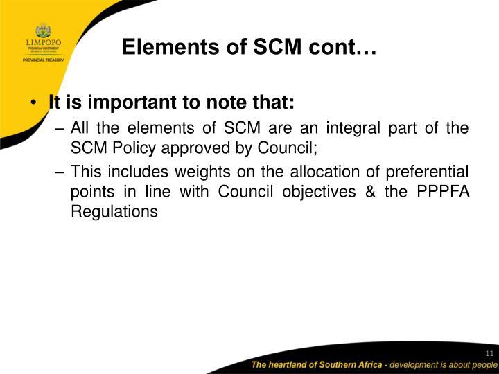 Elements of SCM cont…
