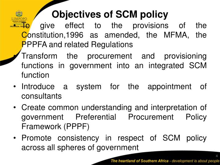 Objectives of SCM policy