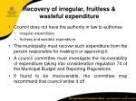 recovery of irregular fruitless wasteful expenditure