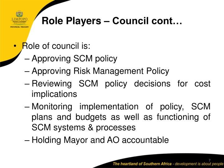 Role Players – Council cont…