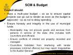 scm budget