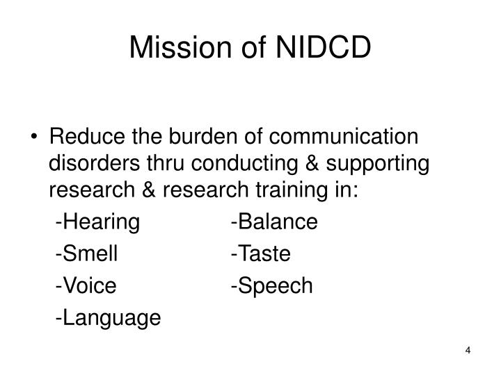 Mission of NIDCD