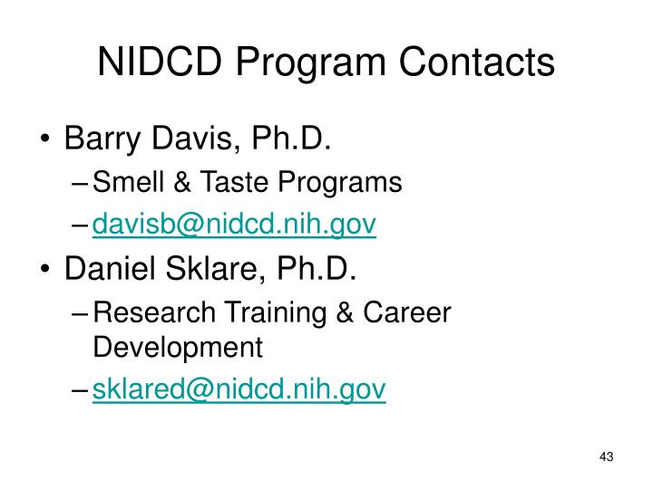 NIDCD Program Contacts