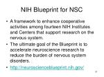 nih blueprint for nsc
