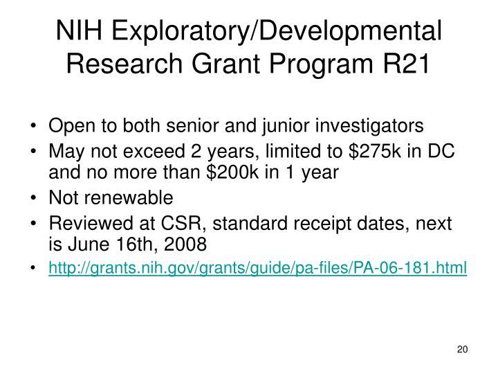NIH Exploratory/Developmental Research Grant Program R21