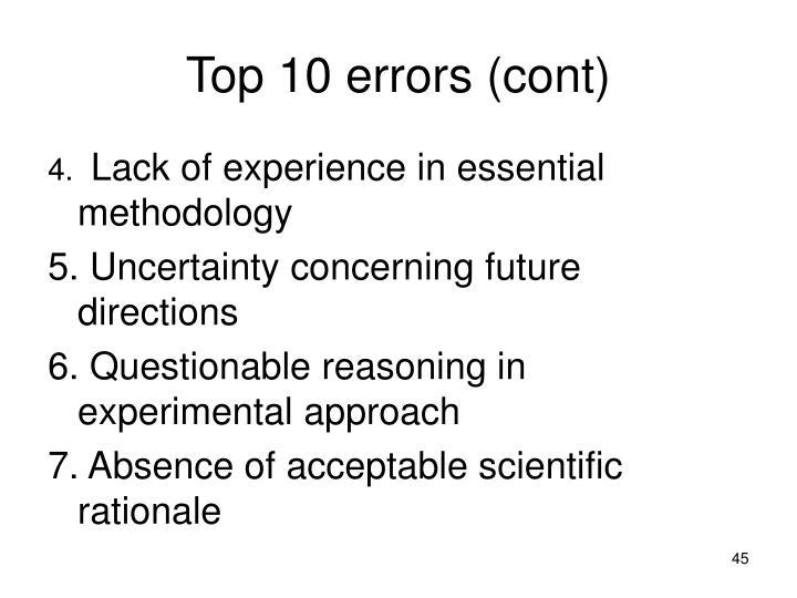 Top 10 errors (cont)