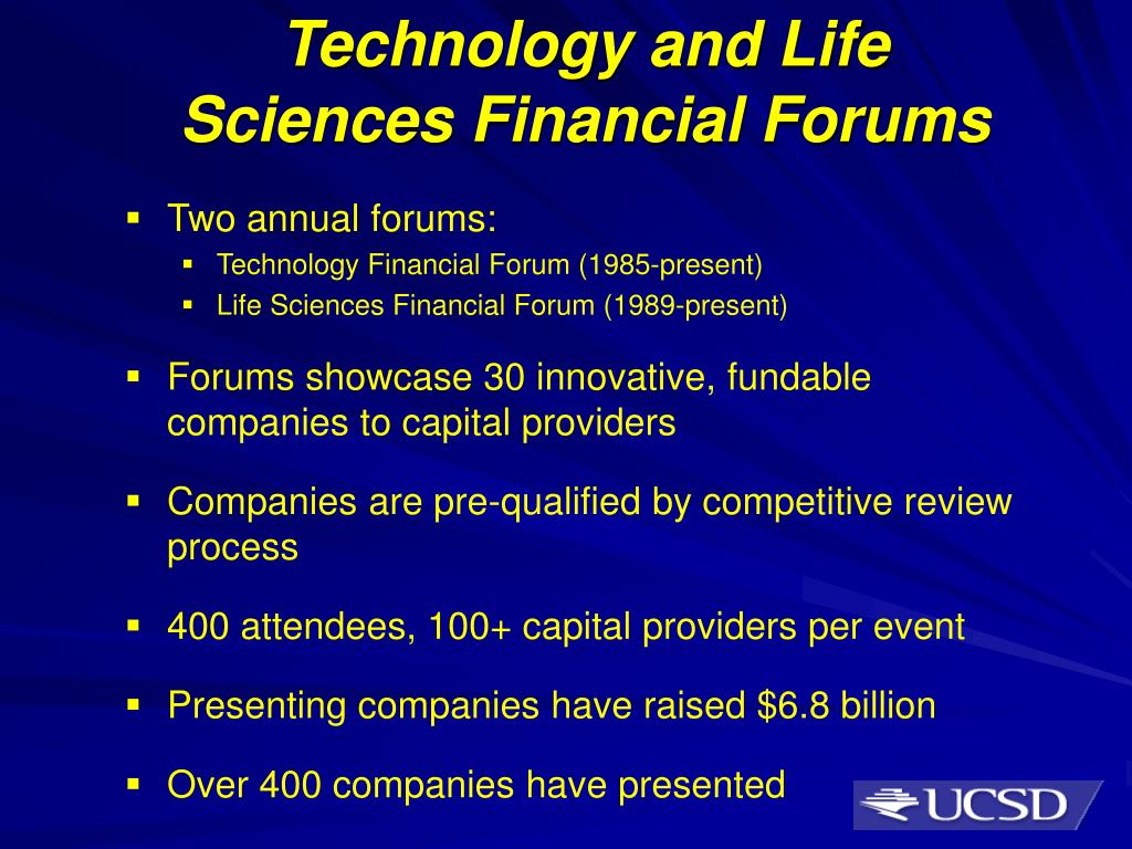 Technology and Life Sciences Financial Forums