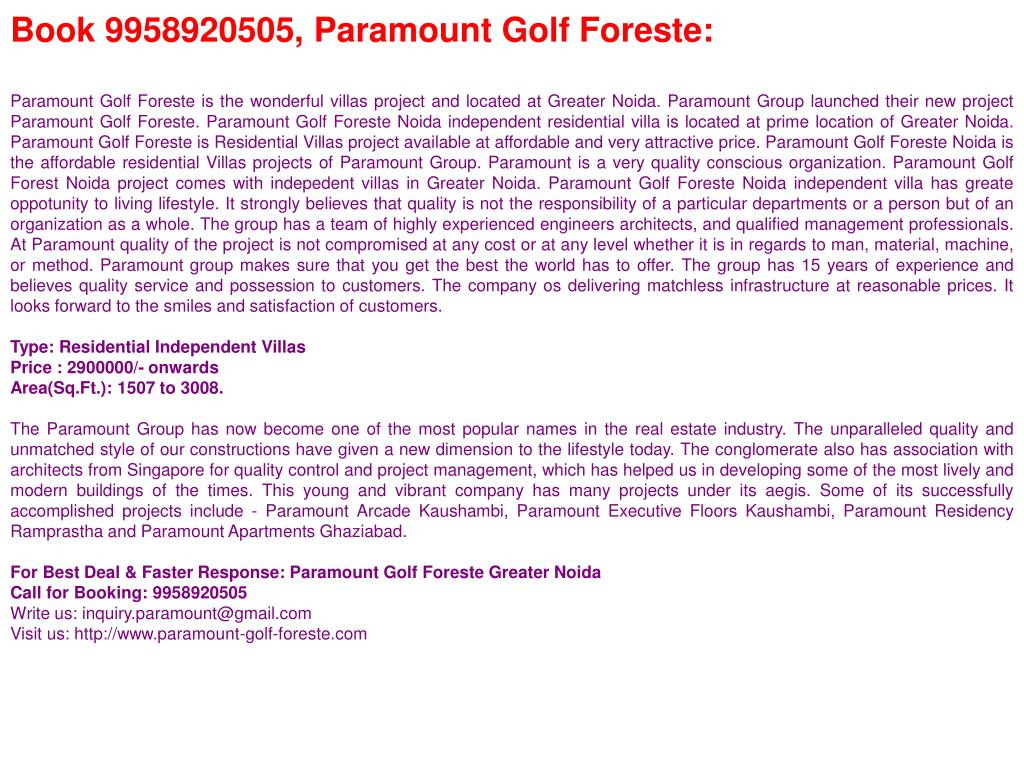 Book 9958920505, Paramount Golf Foreste: