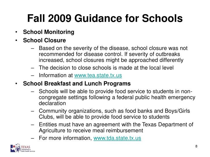 Fall 2009 Guidance for Schools