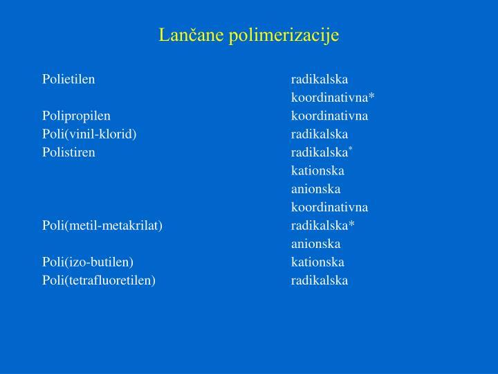 Lančane polimerizacije