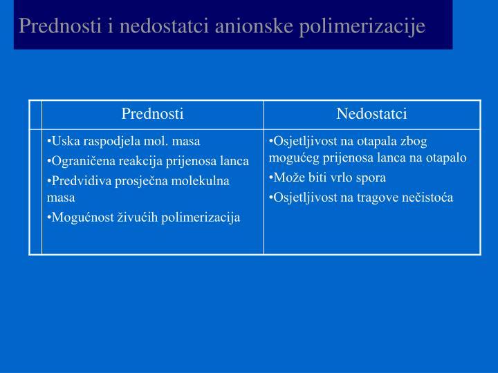 Prednosti i nedostatci anionske polimerizacije