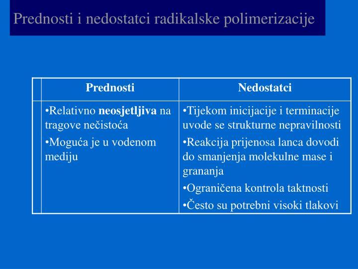 Prednosti i nedostatci radikalske polimerizacije